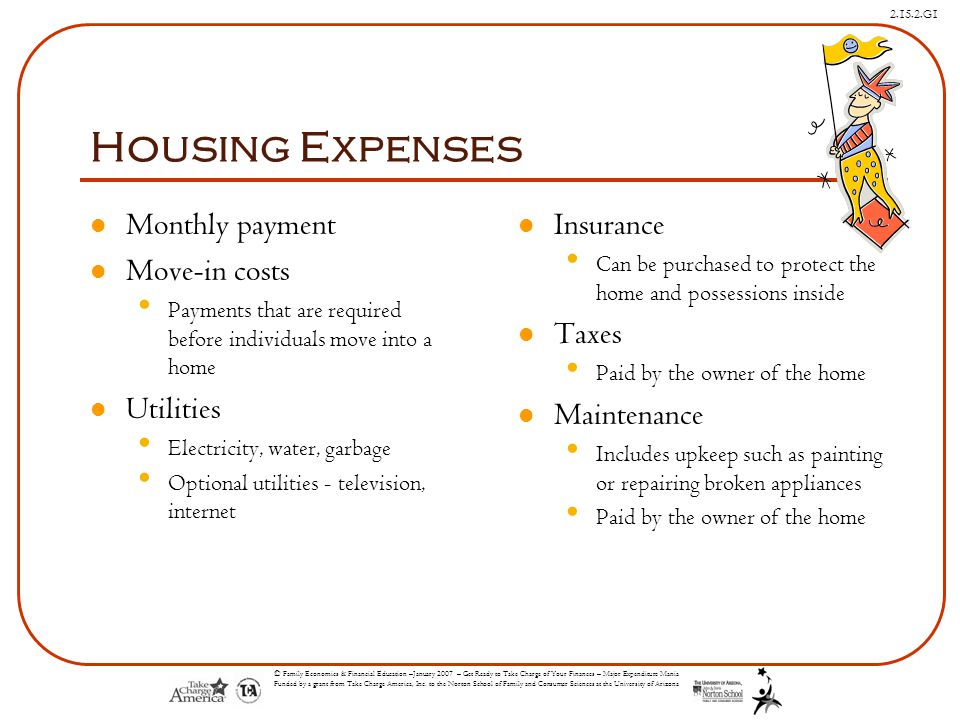 Housing Expenses Monthly payment Move-in costs Utilities Insurance