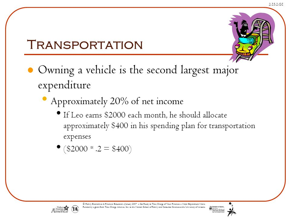 Transportation Owning a vehicle is the second largest major expenditure. Approximately 20% of net income.