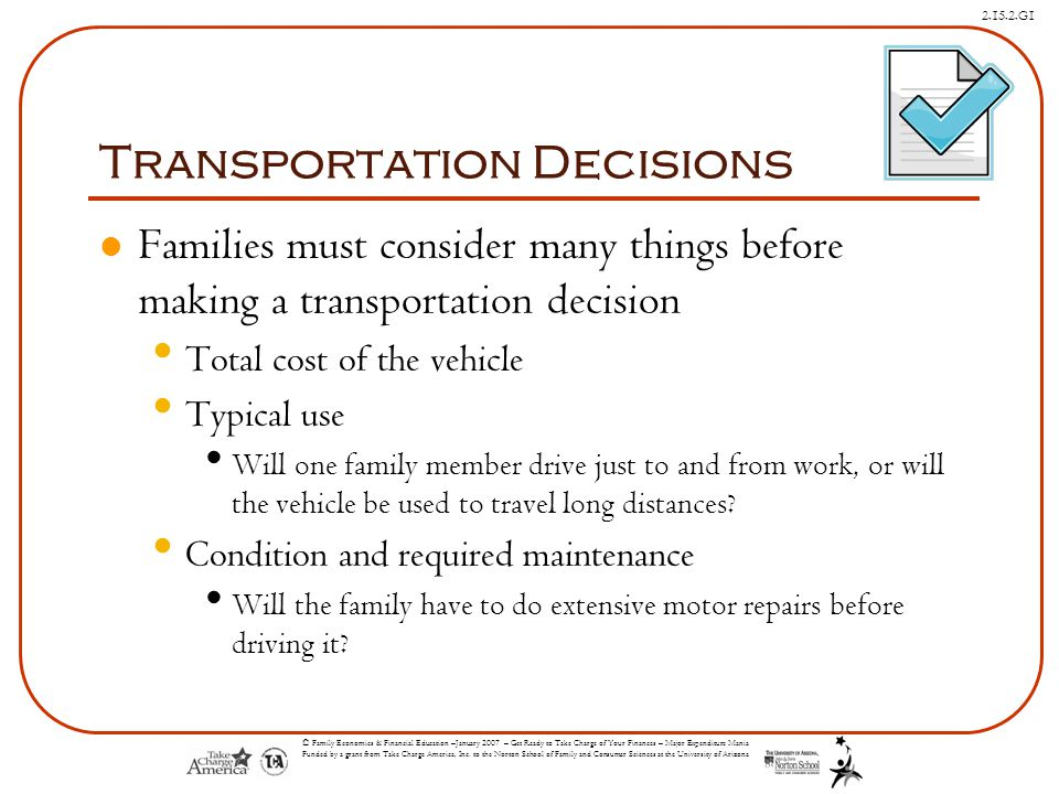 Transportation Decisions