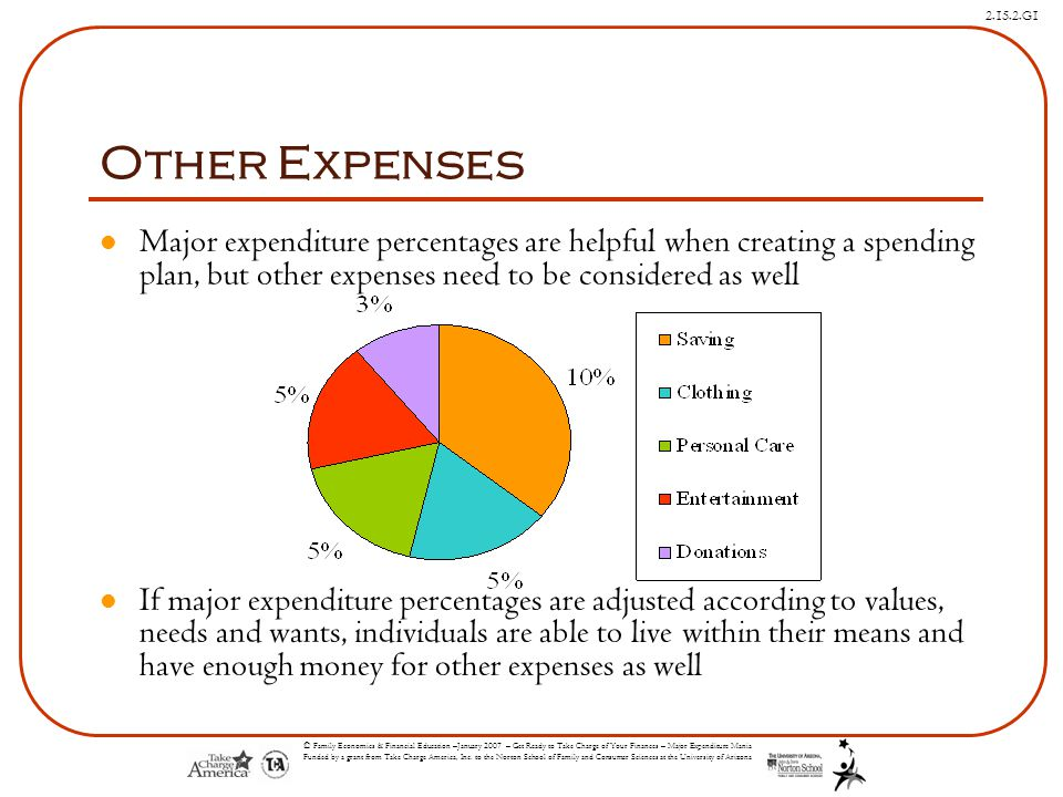 Other Expenses Major expenditure percentages are helpful when creating a spending plan, but other expenses need to be considered as well.