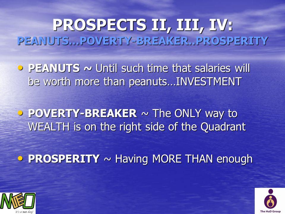 PROSPECTS II, III, IV: PEANUTS…POVERTY-BREAKER..PROSPERITY