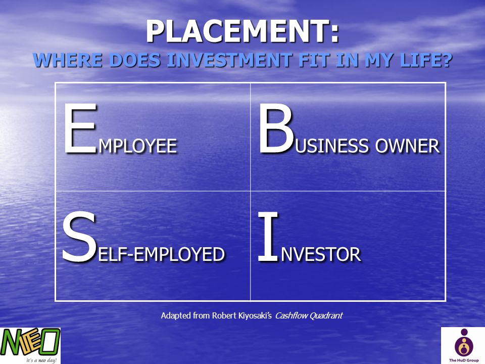PLACEMENT: WHERE DOES INVESTMENT FIT IN MY LIFE