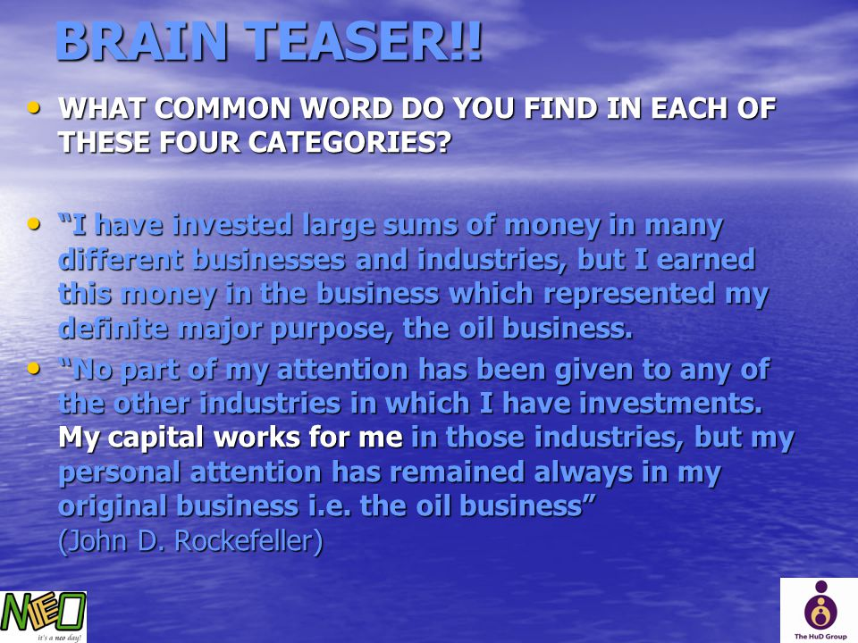 BRAIN TEASER!! WHAT COMMON WORD DO YOU FIND IN EACH OF THESE FOUR CATEGORIES