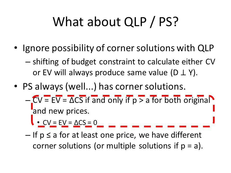 What about QLP / PS Ignore possibility of corner solutions with QLP