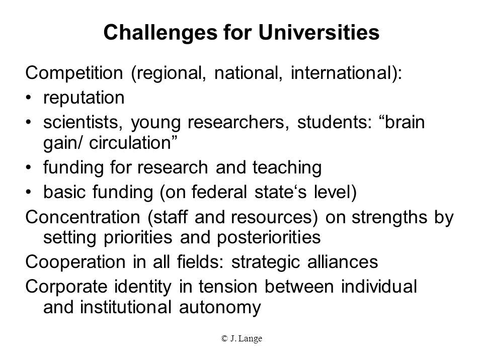 Challenges for Universities