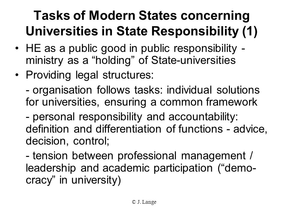 Tasks of Modern States concerning Universities in State Responsibility (1)