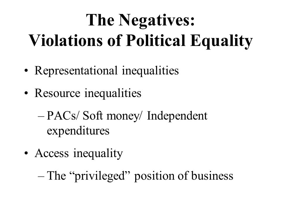 The Negatives: Violations of Political Equality