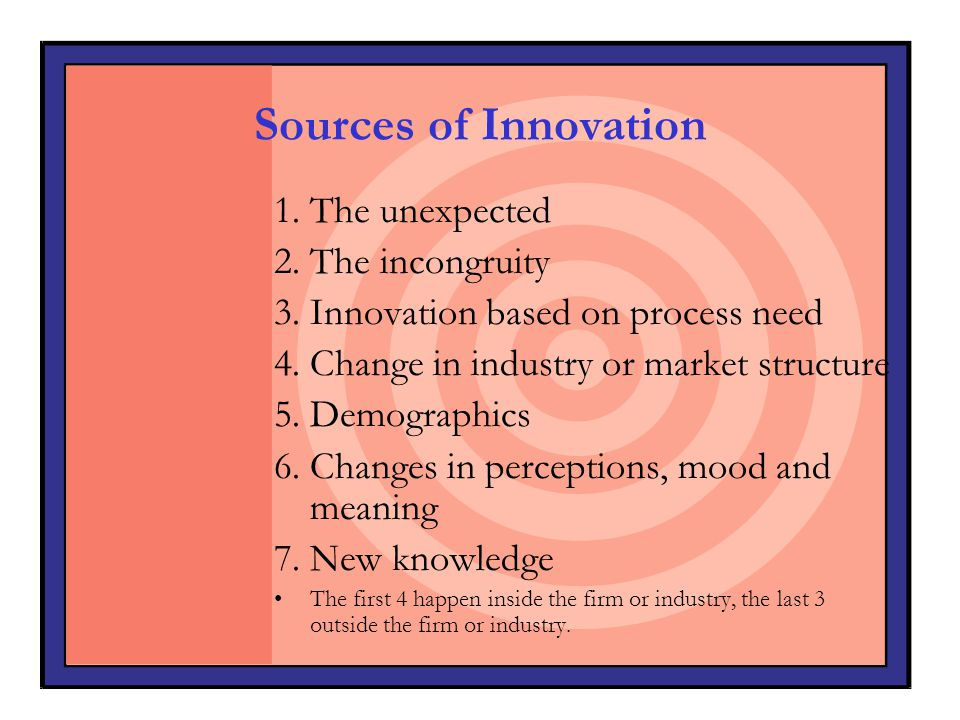 Sources of Innovation 1. The unexpected 2. The incongruity
