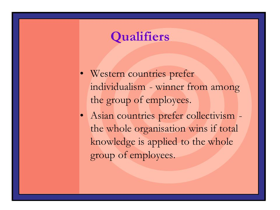 Qualifiers Western countries prefer individualism - winner from among the group of employees.