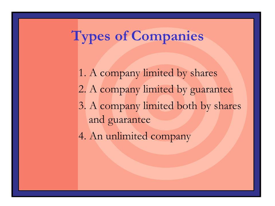 Types of Companies 1. A company limited by shares