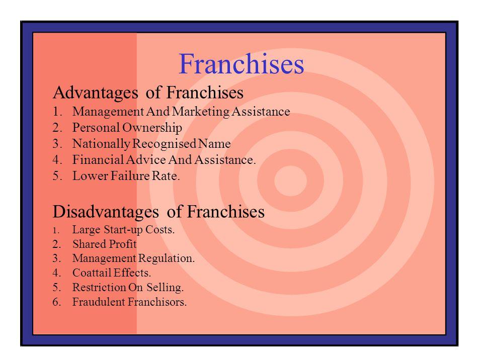 Franchises Advantages of Franchises Disadvantages of Franchises