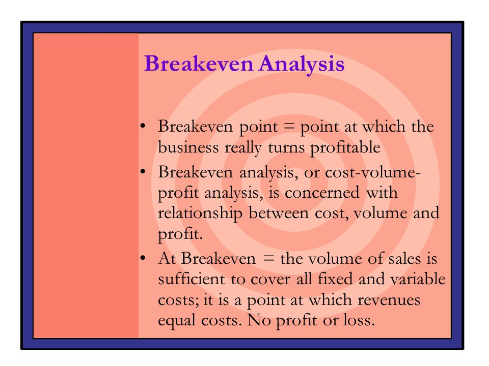 Breakeven Analysis Breakeven point = point at which the business really turns profitable.
