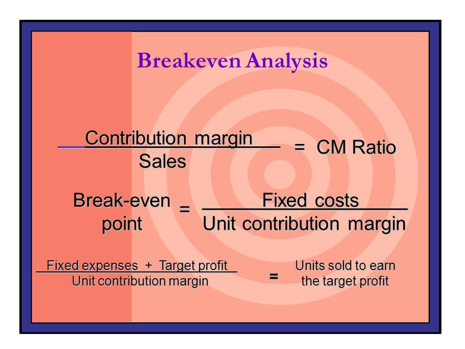 Breakeven Analysis Contribution margin Sales = CM Ratio Break-even
