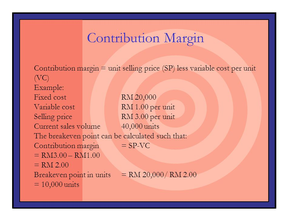 Contribution Margin Contribution margin = unit selling price (SP) less variable cost per unit. (VC)