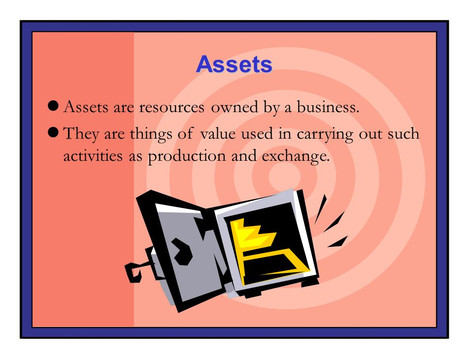 Assets Assets are resources owned by a business.