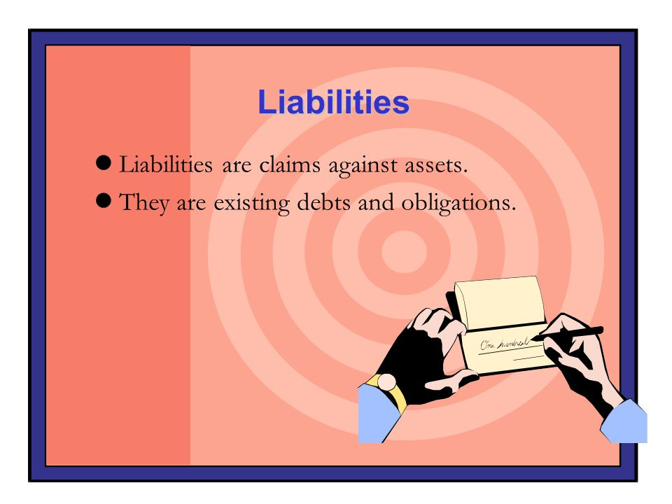 Liabilities Liabilities are claims against assets.