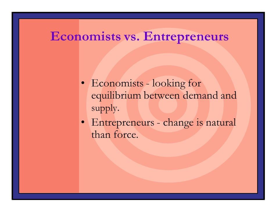 Economists vs. Entrepreneurs