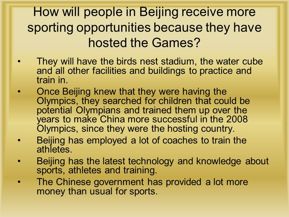 How will people in Beijing receive more sporting opportunities because they have hosted the Games