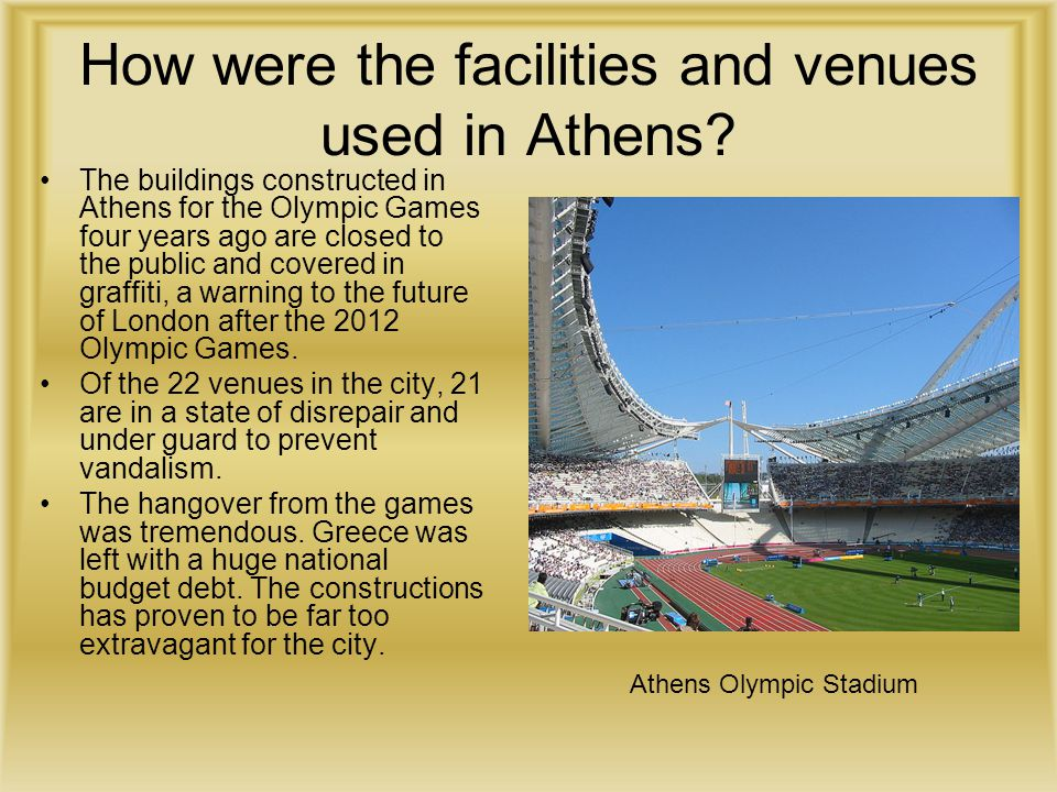 How were the facilities and venues used in Athens