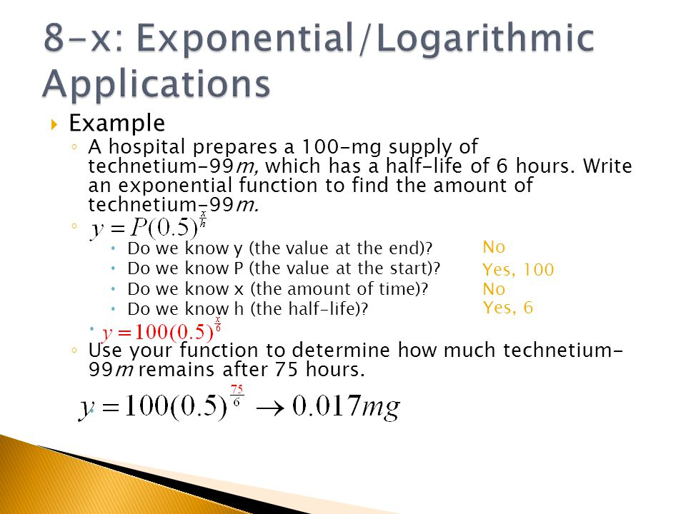 8-x: Exponential/Logarithmic Applications