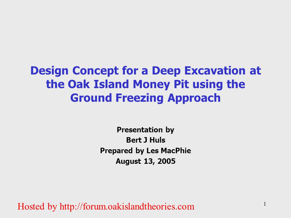 Presentation by Bert J Huls Prepared by Les MacPhie August 13, 2005