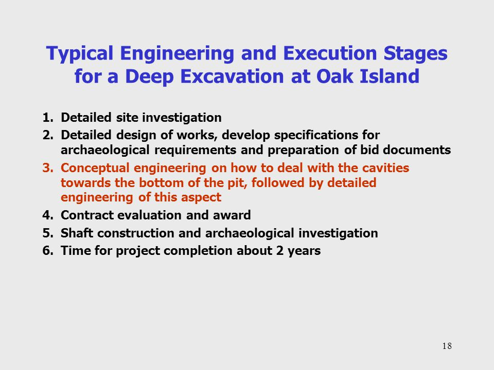 Typical Engineering and Execution Stages for a Deep Excavation at Oak Island