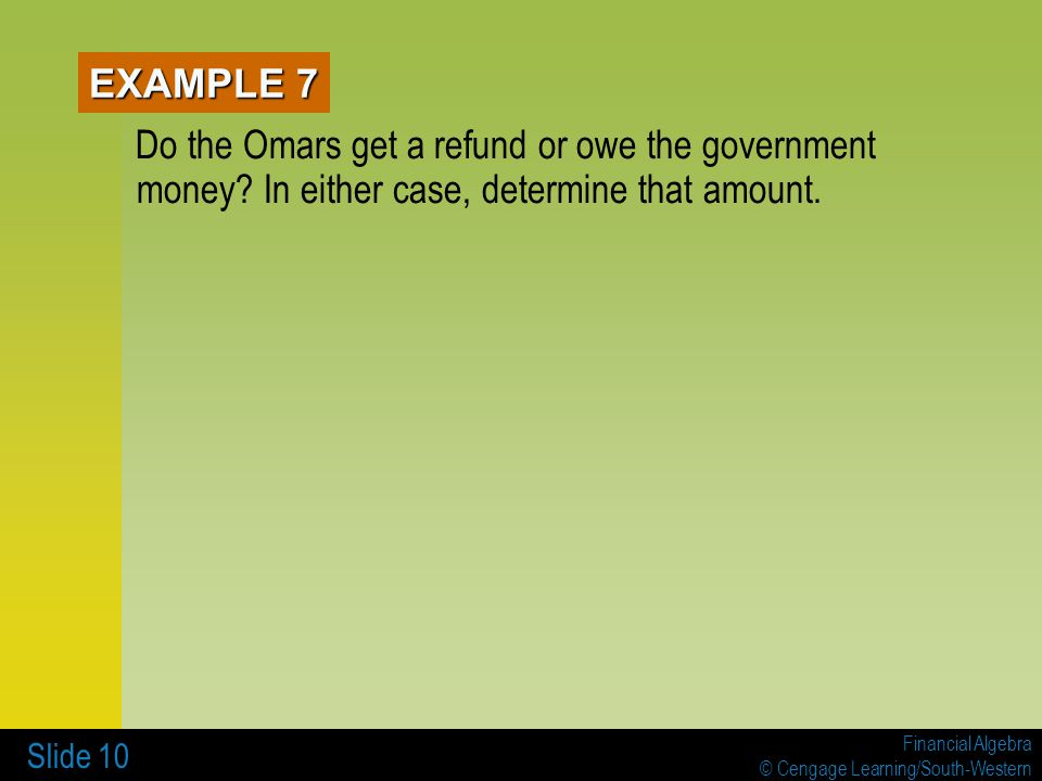 EXAMPLE 7 Do the Omars get a refund or owe the government money.