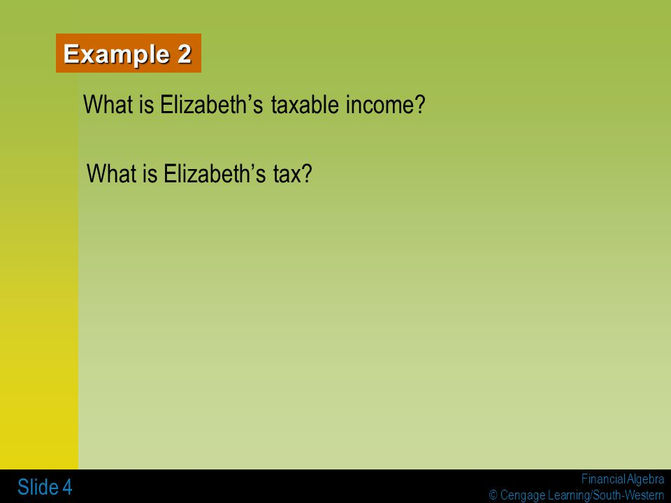 What is Elizabeth's taxable income