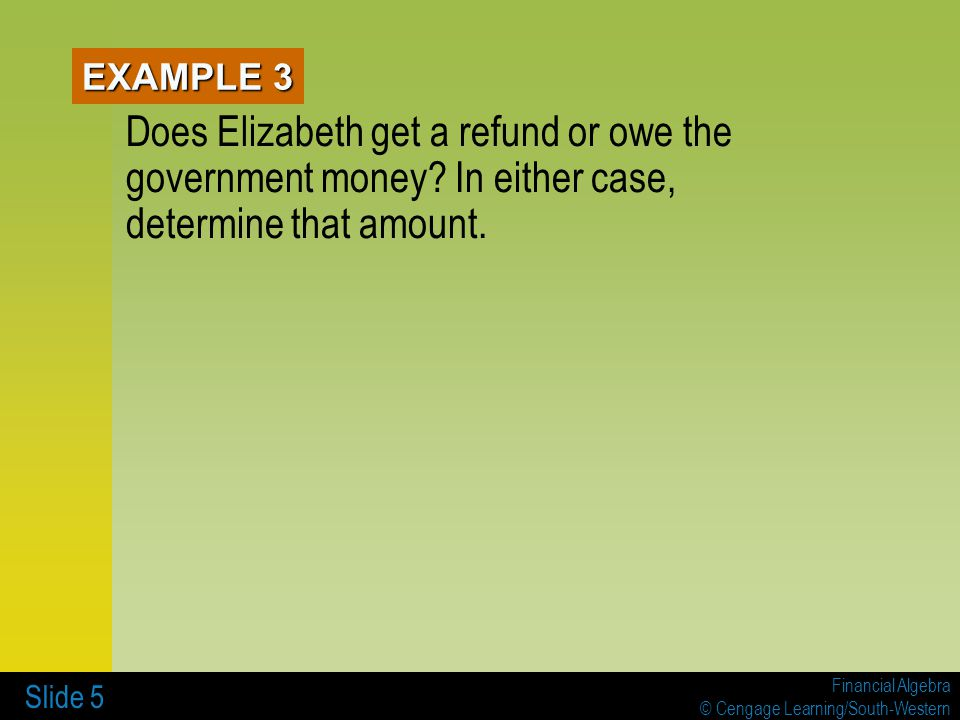 EXAMPLE 3 Does Elizabeth get a refund or owe the government money.