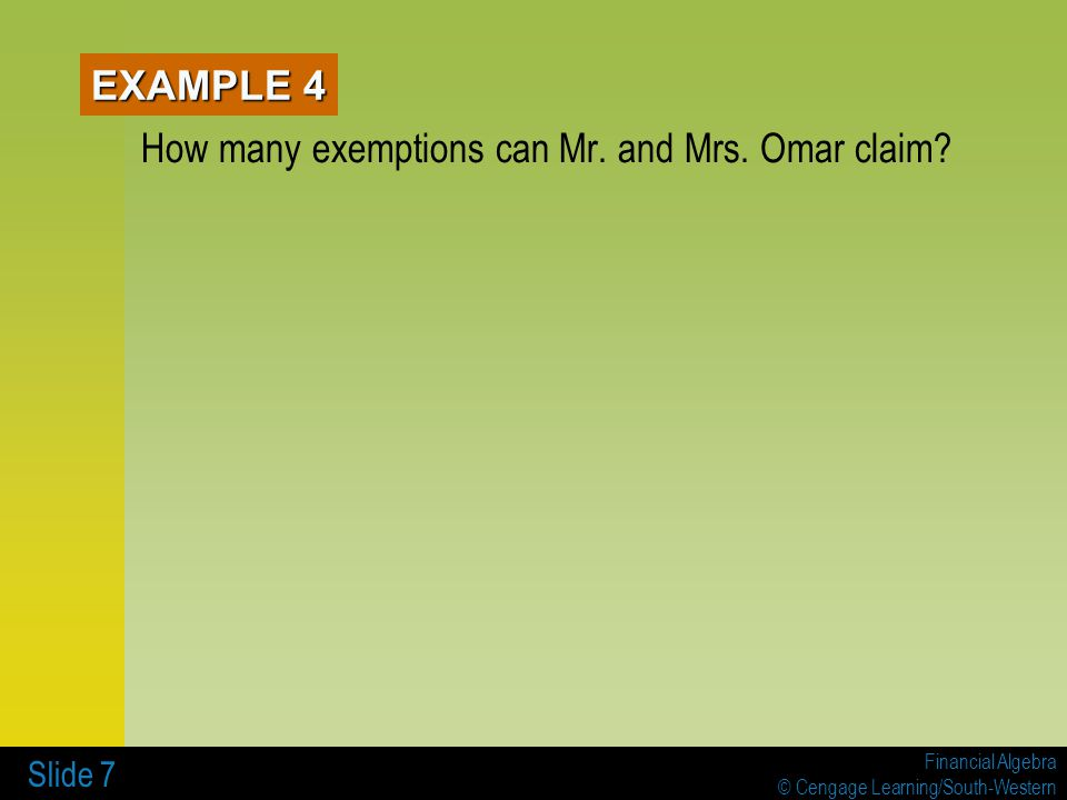 How many exemptions can Mr. and Mrs. Omar claim