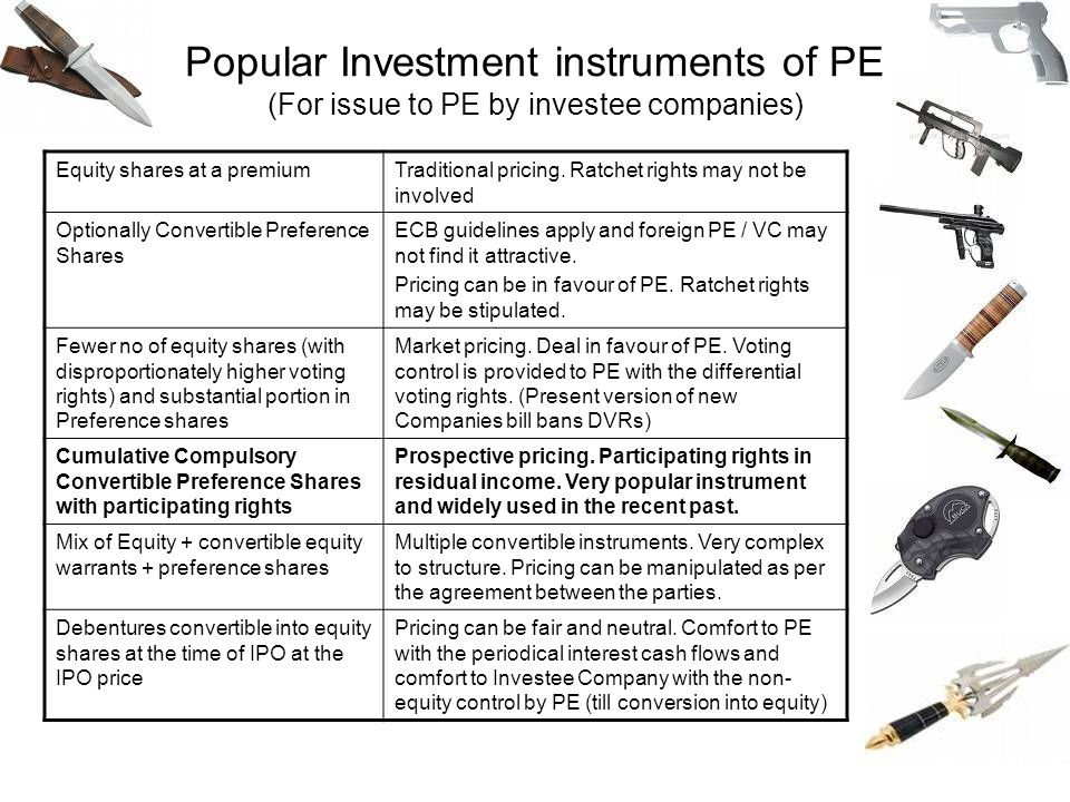 Popular Investment instruments of PE (For issue to PE by investee companies)