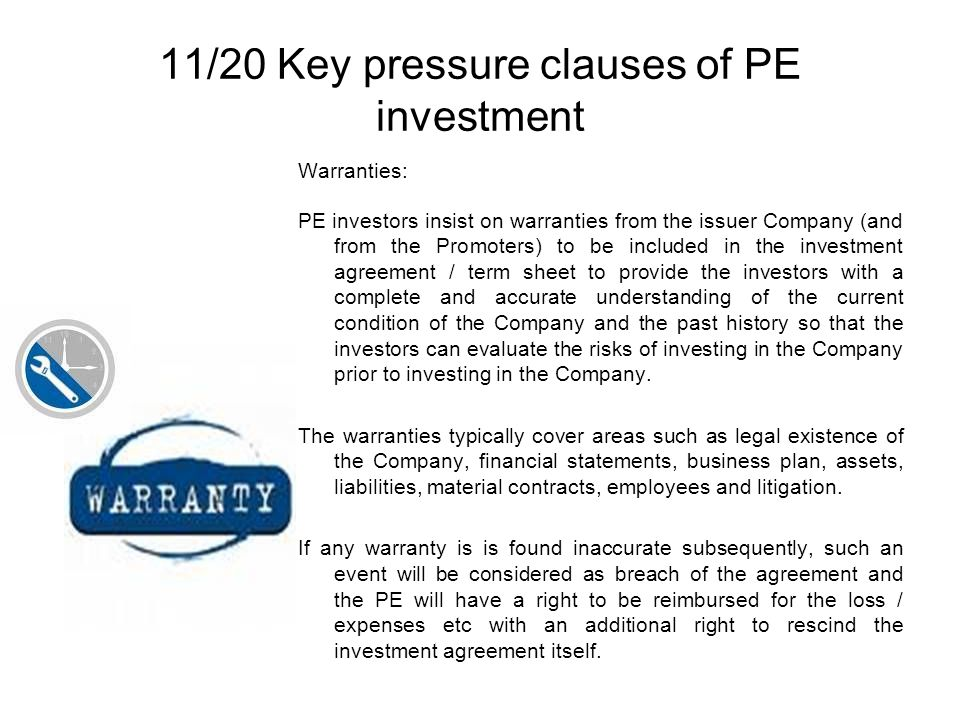 11/20 Key pressure clauses of PE investment