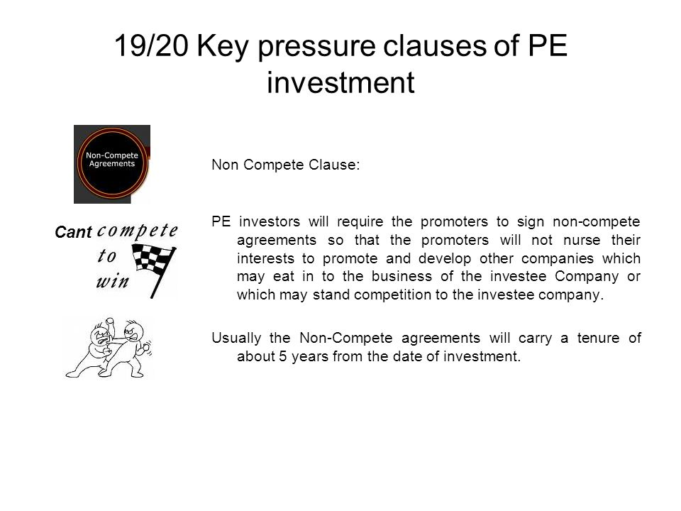 19/20 Key pressure clauses of PE investment