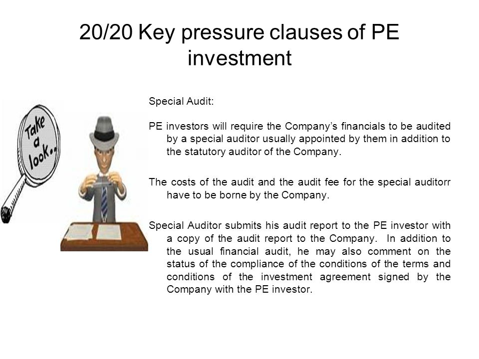 20/20 Key pressure clauses of PE investment