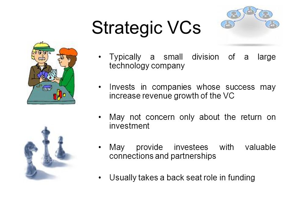 Strategic VCs Typically a small division of a large technology company