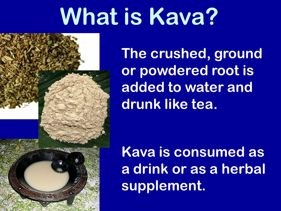 What is Kava. The crushed, ground or powdered root is added to water and drunk like tea.
