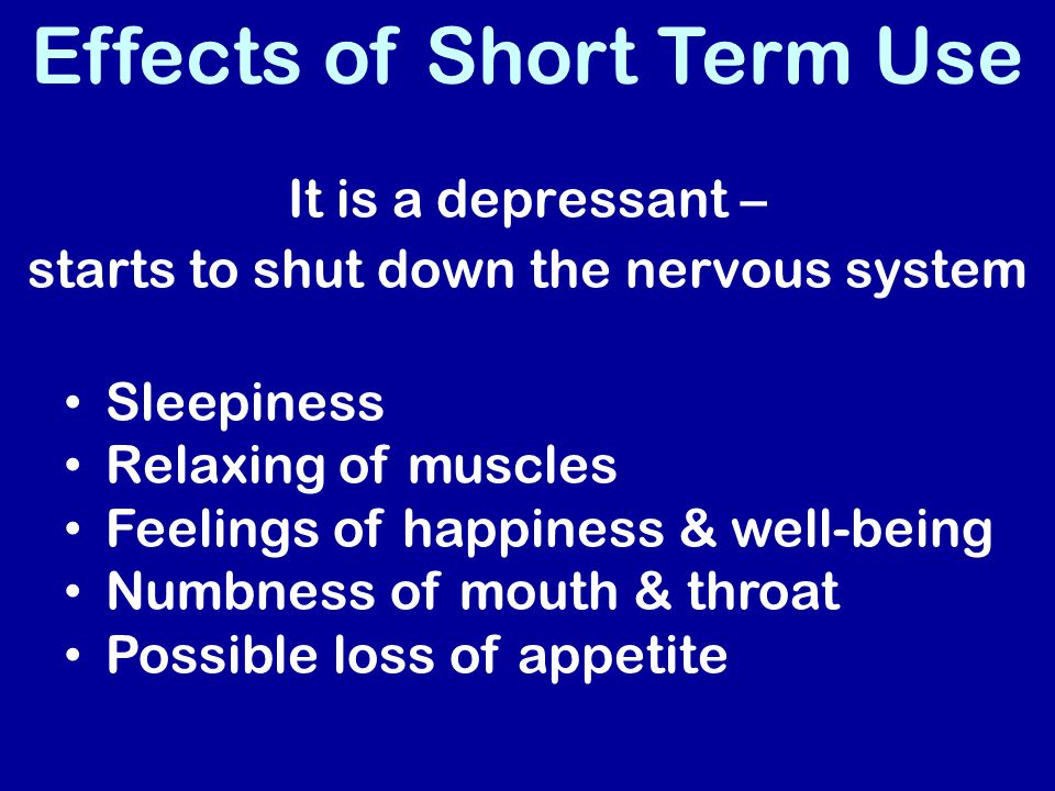 Effects of Short Term Use