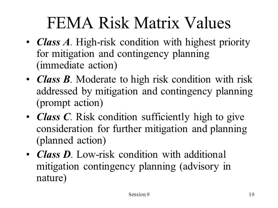 FEMA Risk Matrix Values