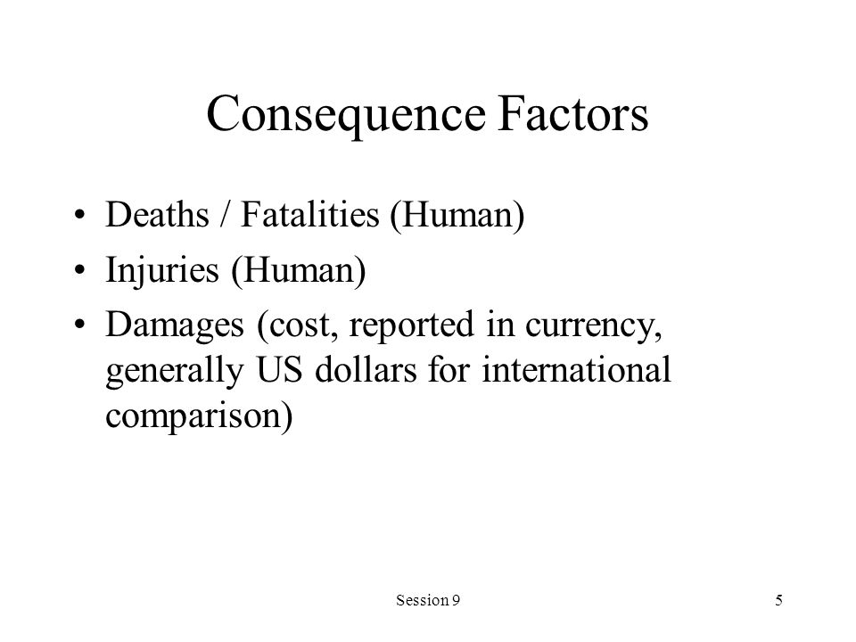 Consequence Factors Deaths / Fatalities (Human) Injuries (Human)