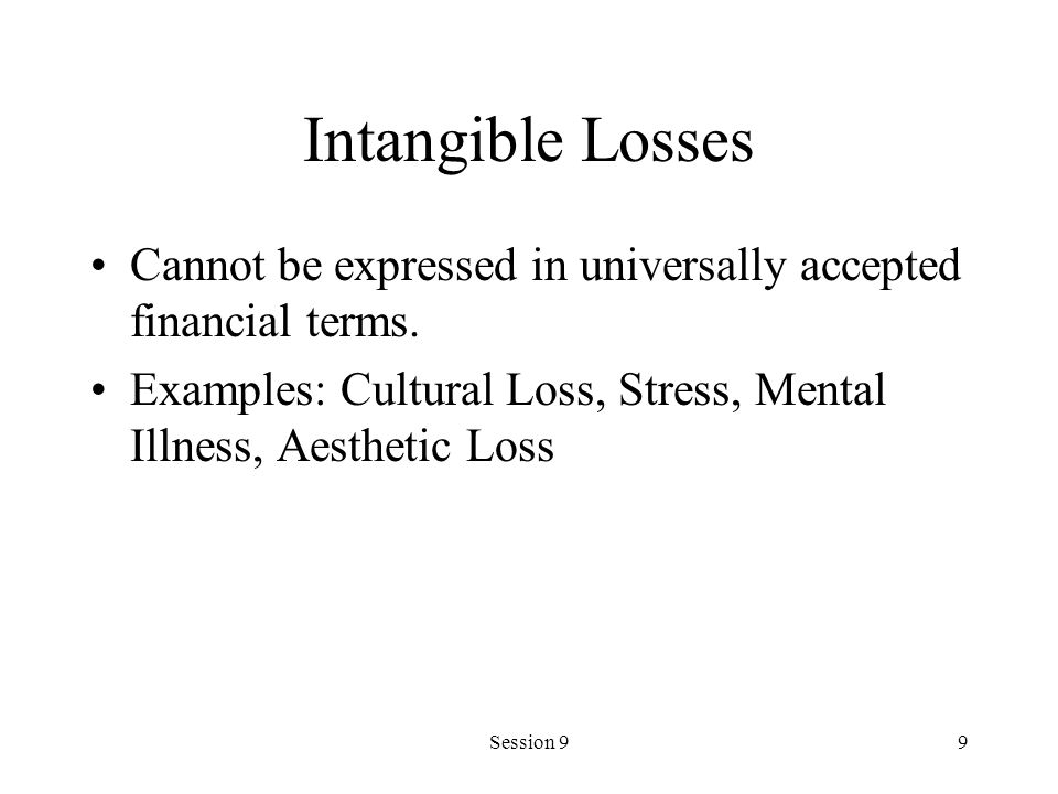 Intangible Losses Cannot be expressed in universally accepted financial terms. Examples: Cultural Loss, Stress, Mental Illness, Aesthetic Loss.