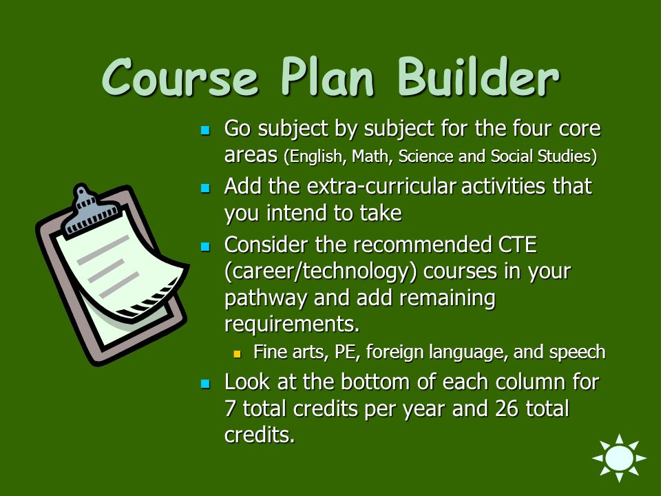 Course Plan Builder Go subject by subject for the four core areas (English, Math, Science and Social Studies)