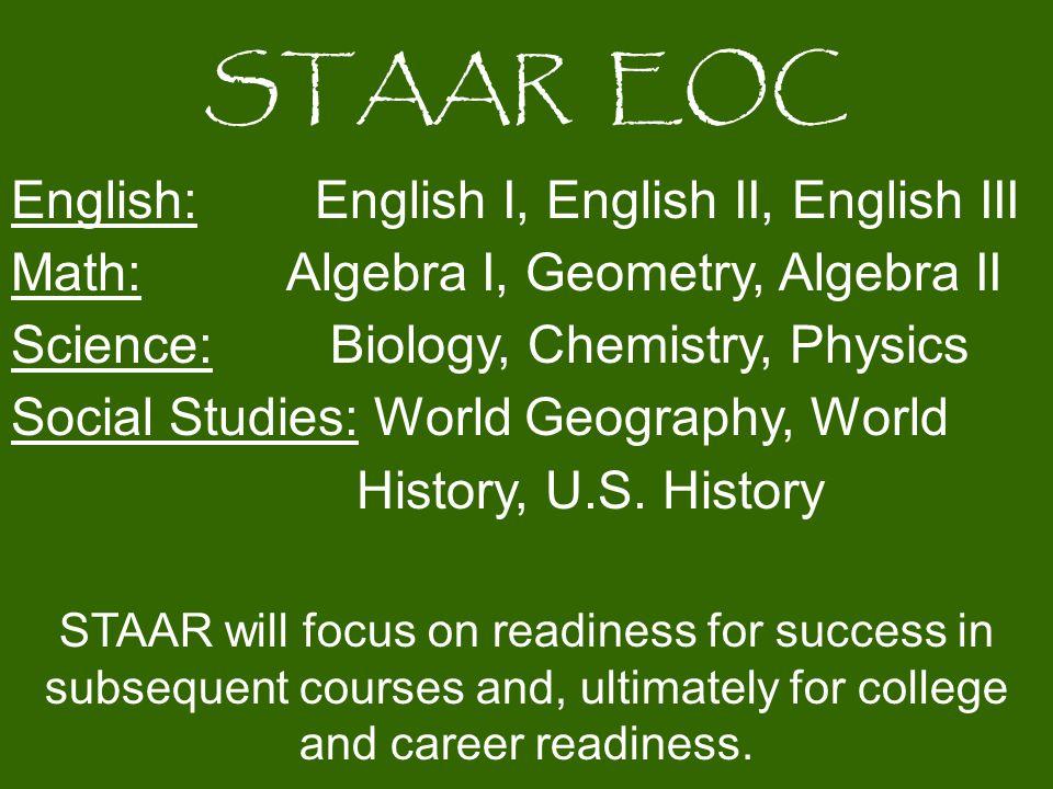 STAAR EOC English: English I, English II, English III