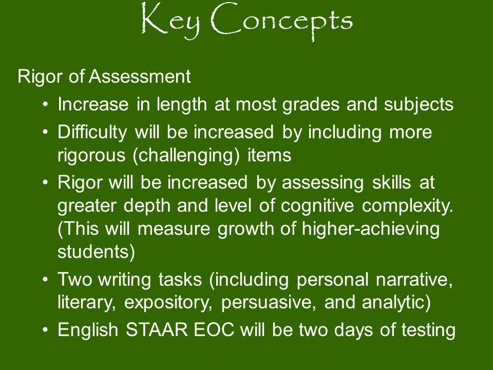 Key Concepts Rigor of Assessment