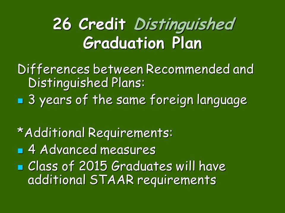 26 Credit Distinguished Graduation Plan