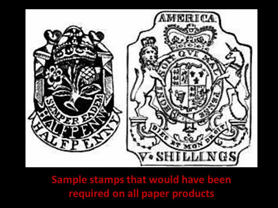 Sample stamps that would have been required on all paper products