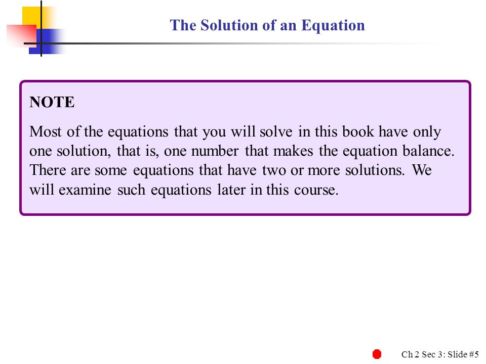 The Solution of an Equation