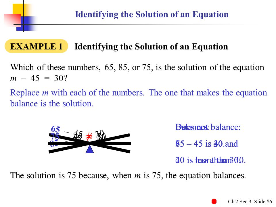 Identifying the Solution of an Equation