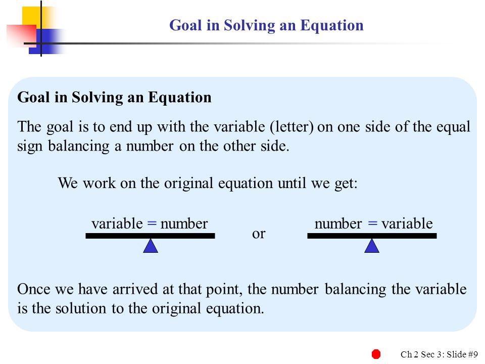 Goal in Solving an Equation