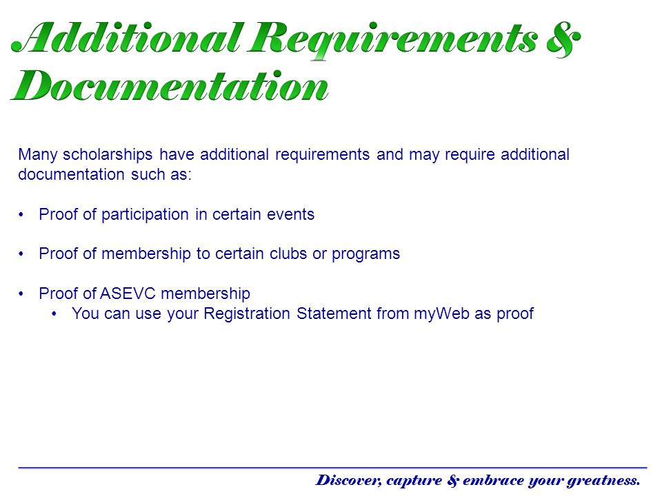 Additional Requirements & Documentation