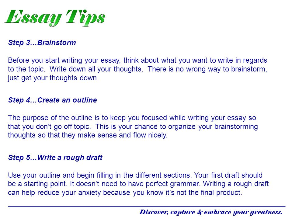Essay Tips Step 3…Brainstorm